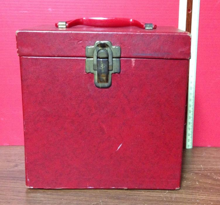 Vintage Amfile Platter-Pak Phonograph Record Case No. 700 Red For 7