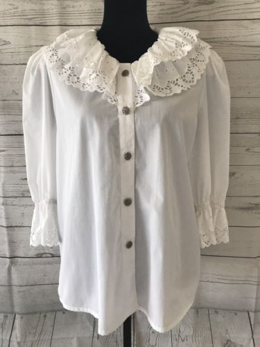 Landhaus C&A Naturally Lace Embroidery Trachten Shirt Sz 42 German Oktoberfest