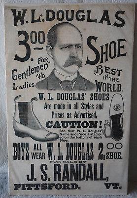 20. ANTIQUE CLOTH BROADSIDE PITTSFORD VERMONT W.L. DOUGLAS $3.00 SHOE