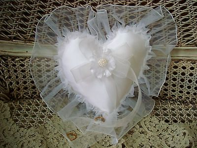 HEARTS FOR YOU ELEGANT WHITE HEART RING BEARER PILLOW WITH RUFFLE