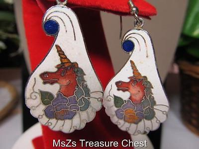 White & Multi-Colored Cloisonne UNICORN Pierced Earrings * New with Gift Box *