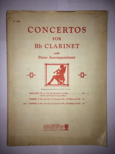 Weber Op. 74 Concerto No. 2 Eb Major for Bb Clarinet solo and piano parts