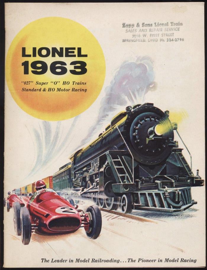 1963 LIONEL TOY TRAIN & SLOT CAR RACING CATALOG - ORIGINAL