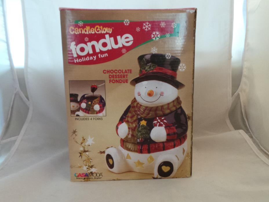 Candle Glow Fondue Christmas Snowman Chocolate Fondue Maker Candy Dish