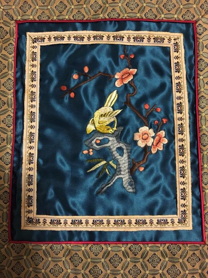 Asian Bird on Tree Embroidery (Old Vintage Cherry Blossom Japan China Silk Art)