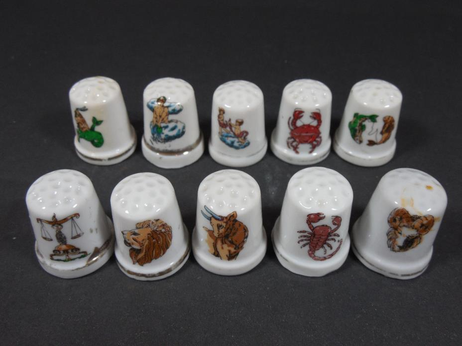 VINTAGE MIXED LOT 10 ZODIAC CERAMIC THIMBLES RETRO DECOR SEWING COLLECTIBLES