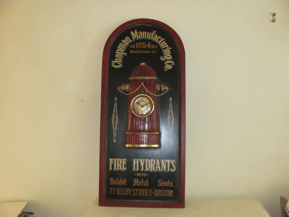 Chapman Manufacturing Co. Fire Hydrants Wall Hanging Battery Powered Clock