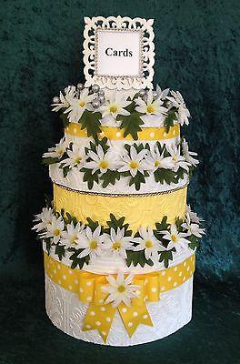 Daisy Wedding Card Box,Cake,handmade,Anniversary,Fabric,Invitation,Paper,yellow