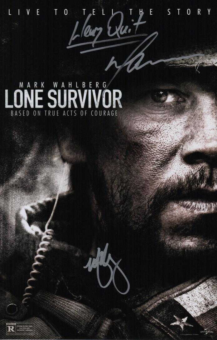 Mark Wahlberg & Marcus Luttrell Signed Lone Survivor 11x17 Movie Poster COA