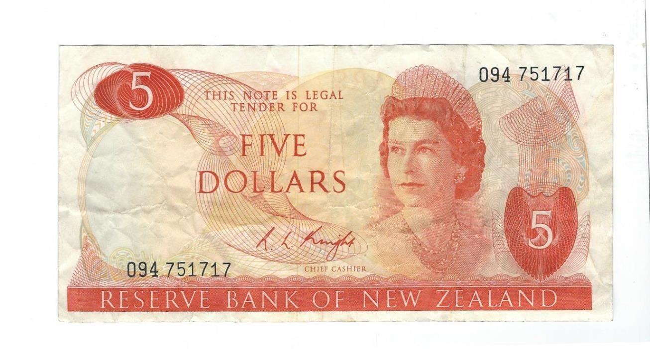 New Zealand -  Five (5) Dollars, 1975-77