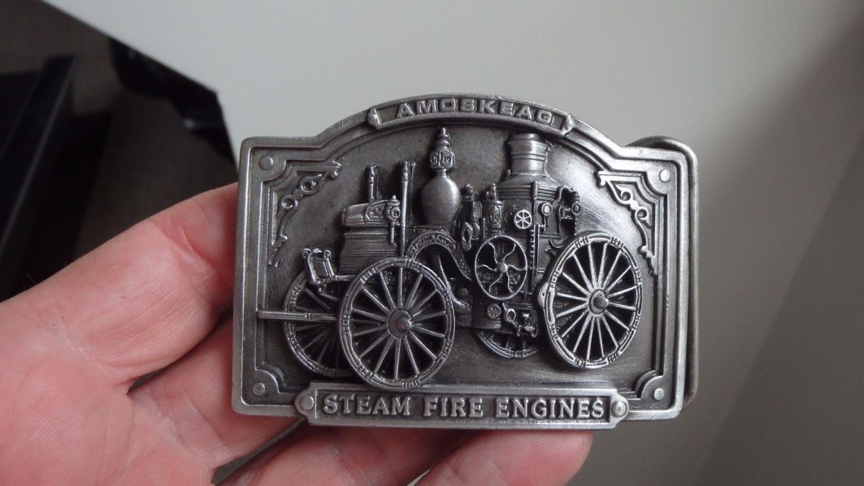 Mens Vintage AMOSKEAG STEAM FIRE ENGINE BELT BUCKLE EMT BELT BUCKLES EMT RESCUE
