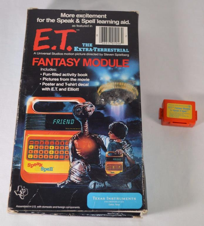Vintage 1982 Speak & Spell ET Fantasy Module, box, poster & Iron-On Transfer