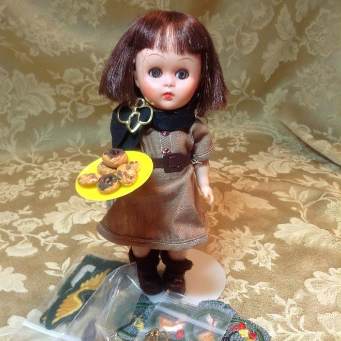 1961-63 Brownie Girl Scout Doll Janie By Uneeda With Brownie Pins and Badges