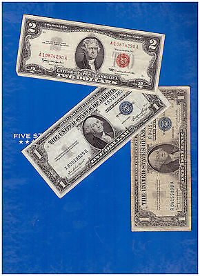 1-1963-2-DOLLAR-RED-SEAL-AND-1-1935 &1-1957-SILVER-CERTIFICATE-LOT-M557