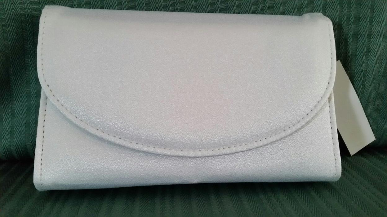 New White Dyeable Crepe Wedding Bridal Evening Party Prom Handbag Clutch Purse
