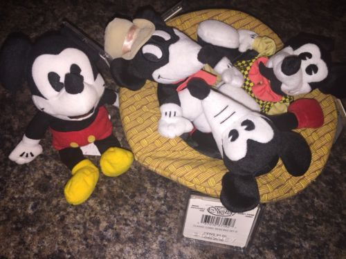Mickey Mouse Classic Comic Set Of Beanbag Plushes In Hat NWT With Extra Mickey