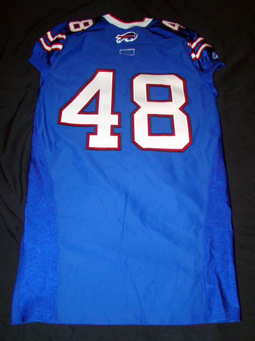MAKE YOUR OWN #48 BUFFALO BILLS GAME USED 2011 REEBOK NFL FOOTBALL JERSEY SIZE48