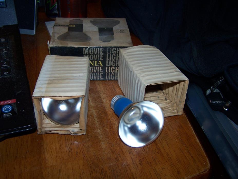Two Vintage Sylvania Movie Bar Light Bulbs - 200 Watts R-20 Type DAN USA