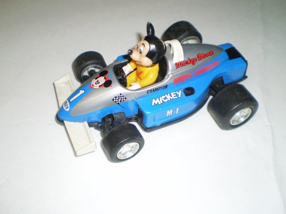 MICKEY MOUSE Spring Action Tin/Plastic Racing Car MASUDAYA CORP. 1988