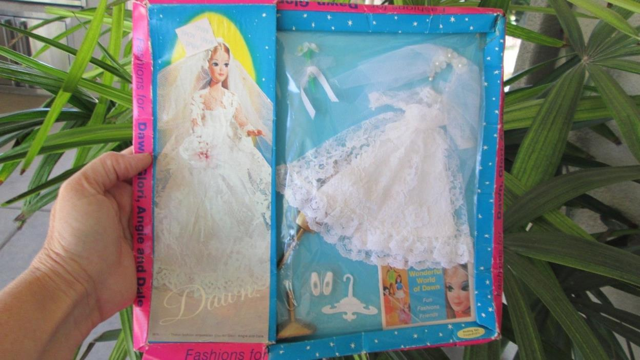 Sealed Vintage Dawn Doll Wedding Brides Dress Gown Topper Clothes Bell Dream New