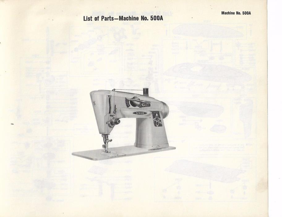 Singer List of Parts for The 500A Sewing Machine W/Accessories JPG
