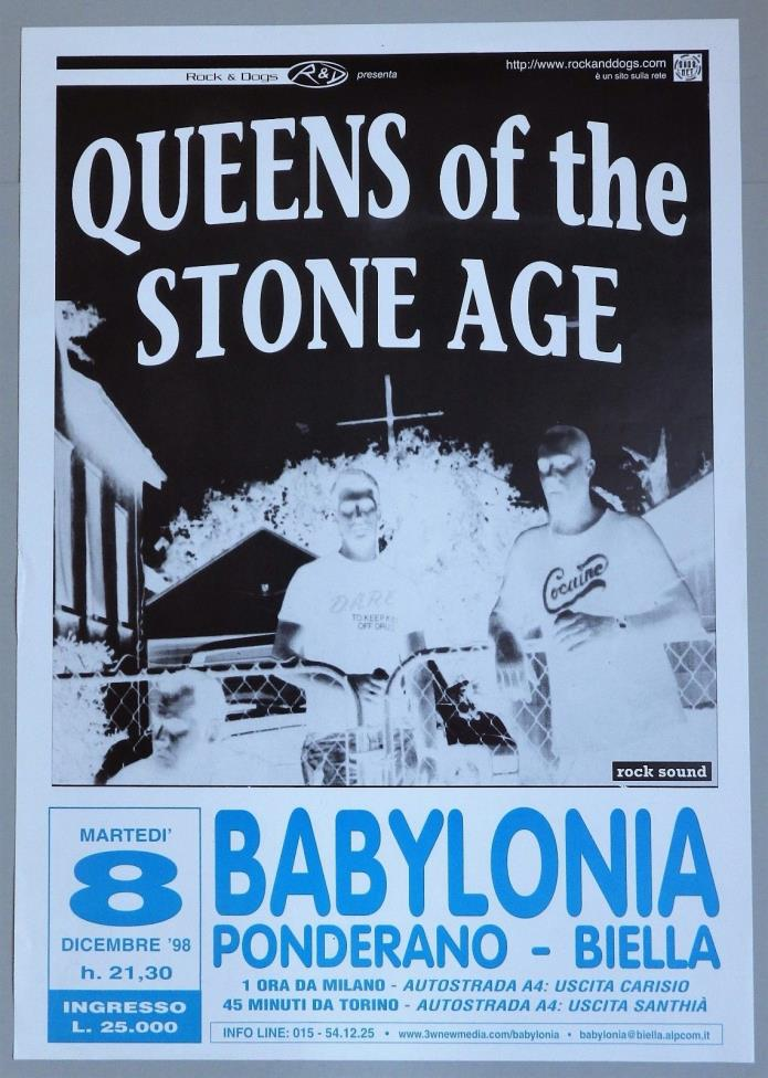 QUEENS OF THE STONE AGE – 1998 CONCERT POSTER   - PONDERANO ITALY