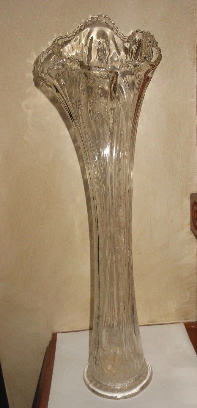 Art Glass Swung Vase Crystal Clear Stretch Funeral Vase 14