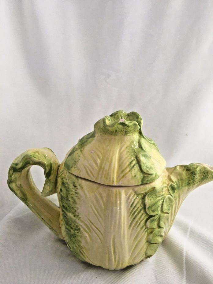 Vintage Green Cabbage Teapot Country Road Hand Painted for Collectors