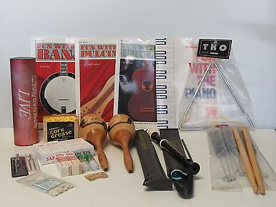 Lot of Music Items Reeds Books Drum Brushes Sticks Tuning Forks Recorders & More