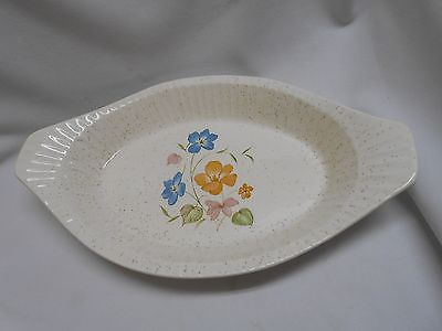 vtg Treasure Craft casserole baking spaghetti dish pan platter w pretty flowers