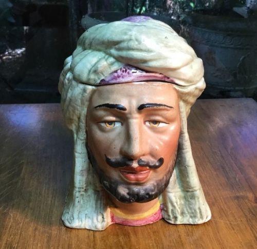 Antique Austrian Humidor of Arab Man with Turban c.1880+/-