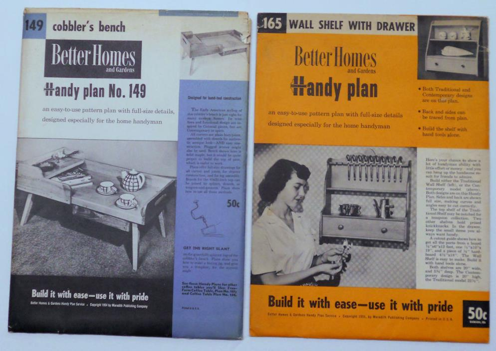 2 Sets Better Homes and Gardens Handy Plans 149 Cobbler's Bench 165 Wall Shelf