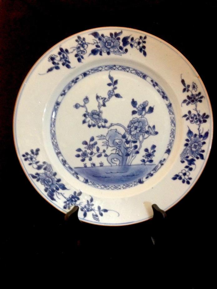 CHINESE PORCELAIN BLUE & WHITE KANGXI PERIOD BATAVIAN EDGE FLORAL PLATE 18TH C