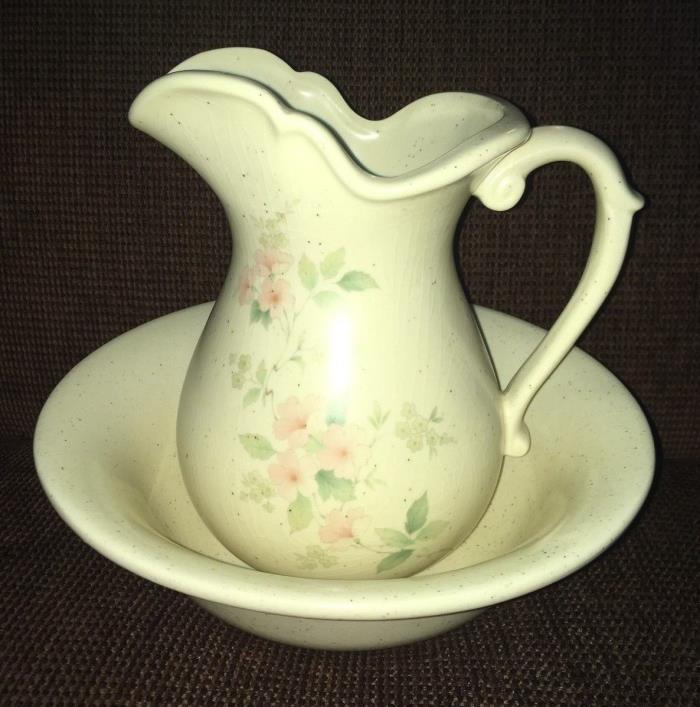 Vtg McCoy Art Pottery Cream Ivory Large Pitcher & Wash Bowl Pink Flowers #7549