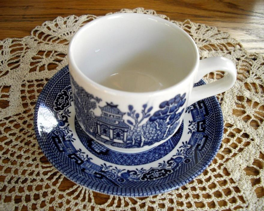 Churchill Staffordshire BLUE WILLOW Tea Cup & Saucer England ~