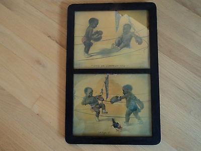 BLACK AMERICANA NEGRO BABIES BOXING RING 1905 FRAMED AQUATINT JOHN DE YONGH