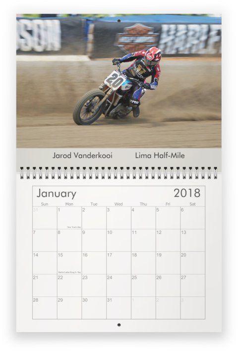 2018 Motorcycle calendar dirt track racing flat track racing