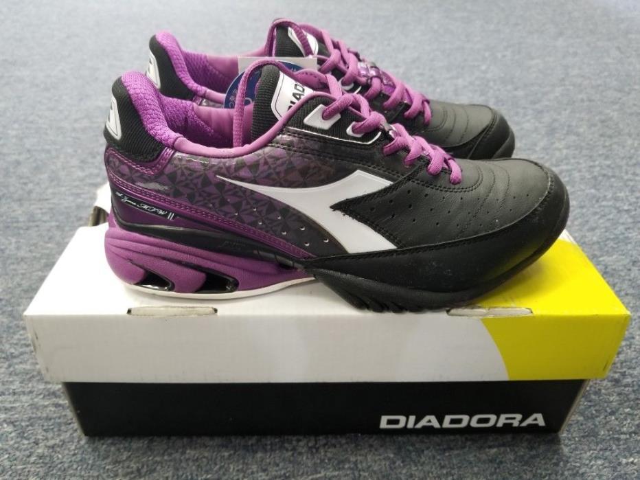 Women's Diadora S.Star K II Tennis Shoes Black/Purple Size 7