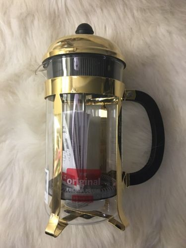 Bodum French Press 8 Cup Chambord Classic Coffee Maker Gold Plated New