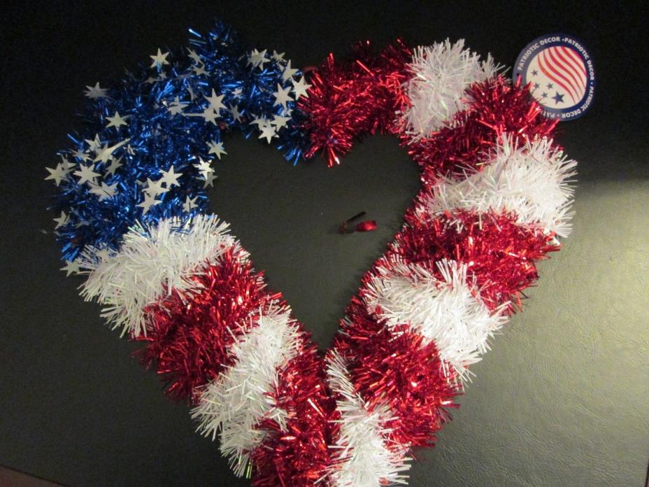 Red White Blue Heart-Shaped Wreath, Patriotic Decor, NWT