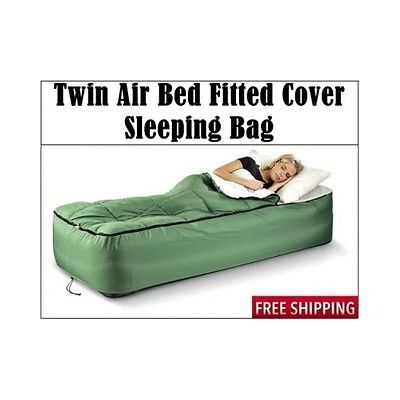 Twin air Bed Fitted Cover with Sleeping Bag, Camping Comfort Green series