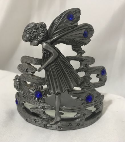 Pewter Fairy Winged Candle Holder With Blue Stones