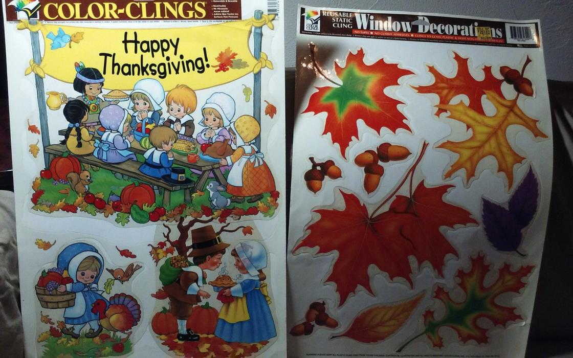 THANKSGIVING WINDOW DECORATION  COLOR CLINGS Leafs
