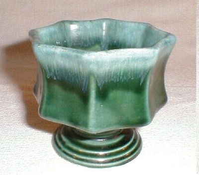 Hull Planter Art Pottery F3 Green Drip Small Pedestal