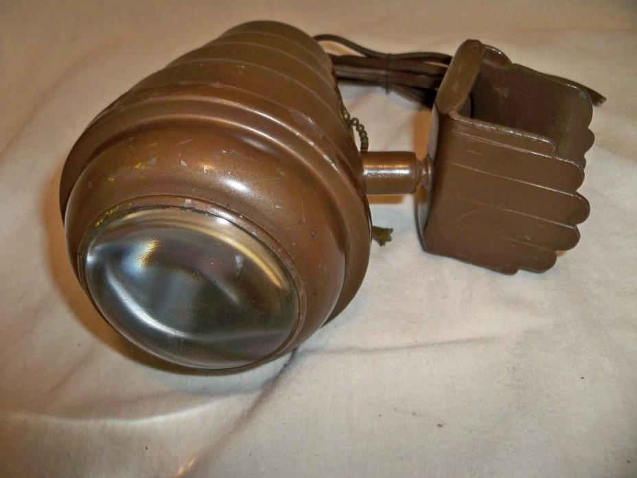 Vintage Spot Light w Convex Clear Glass Lens > Antique Old Lights RARE