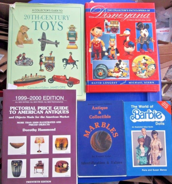 Mixed Lot of 5 Antique Encyclopedias-Value & Pictorial Price Guides Toys/Barbies