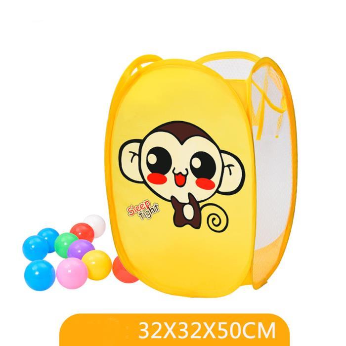 Mesh Laundry Bag, Pit Balls Storage Bin,Toys Organize, Pop Up Hamper/Monkey