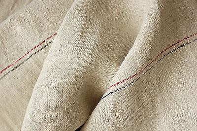 Vintage WASHED Linen homespun ORGANIC  stripe WASHED upholstery fabric 10.3yd