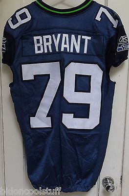 Seattle Seahawks RED BRYANT Home Game Used Worn NFL Football Jersey UNWASHED