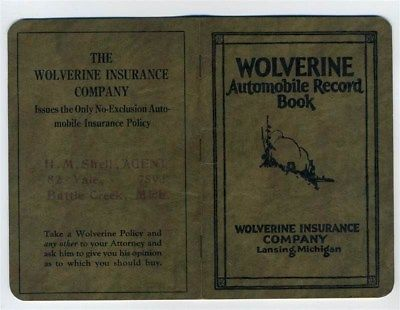 Automobile Record Book 1926 Wolverine Insurance Company Lansing Michigan